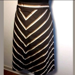 Banana Republic A-line Brown Tan Chevron Skirt